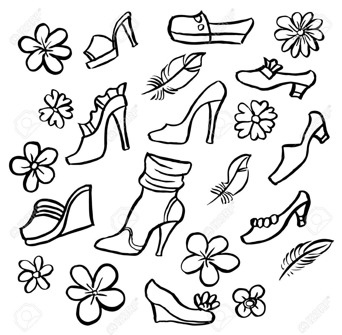 Dibujado Mujer A Mano De Zapatos Vectores Colección Conjunto EUwt7f