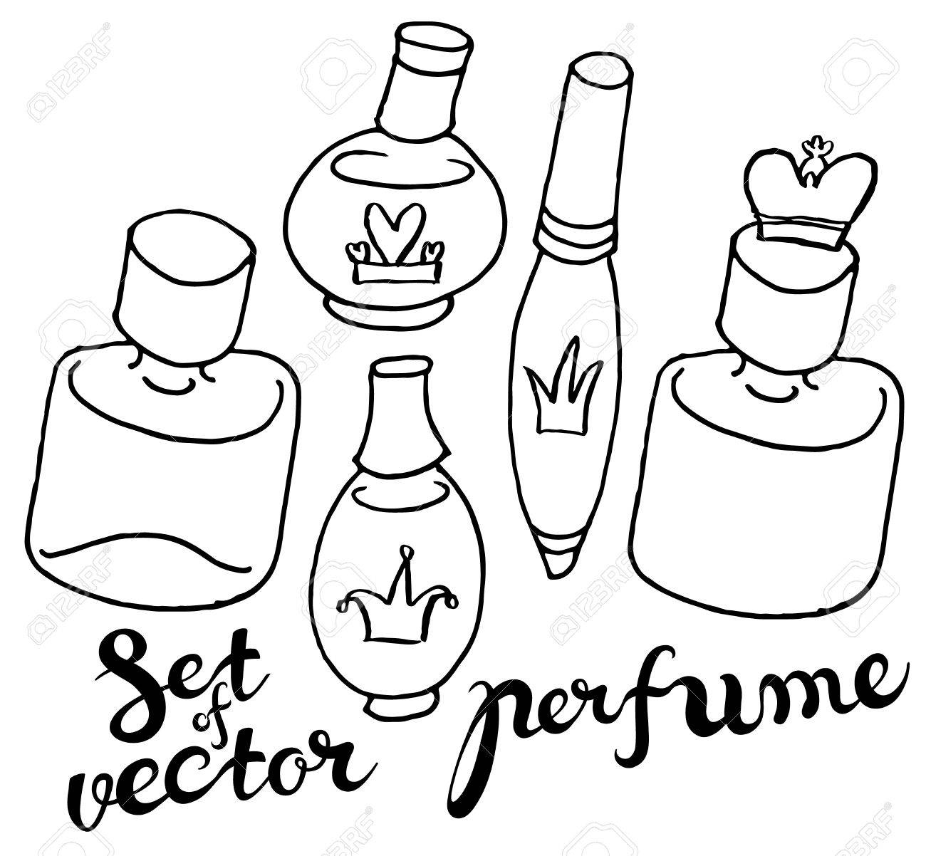 Hand Draw Vector Perfume Bottles In Naive Style With Hand Lettering