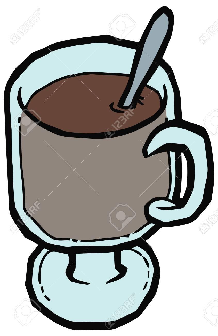 Tazza Di Vetro Di Caffè E Cucchiaio Illustrazione Vettoriale. Set Di ...
