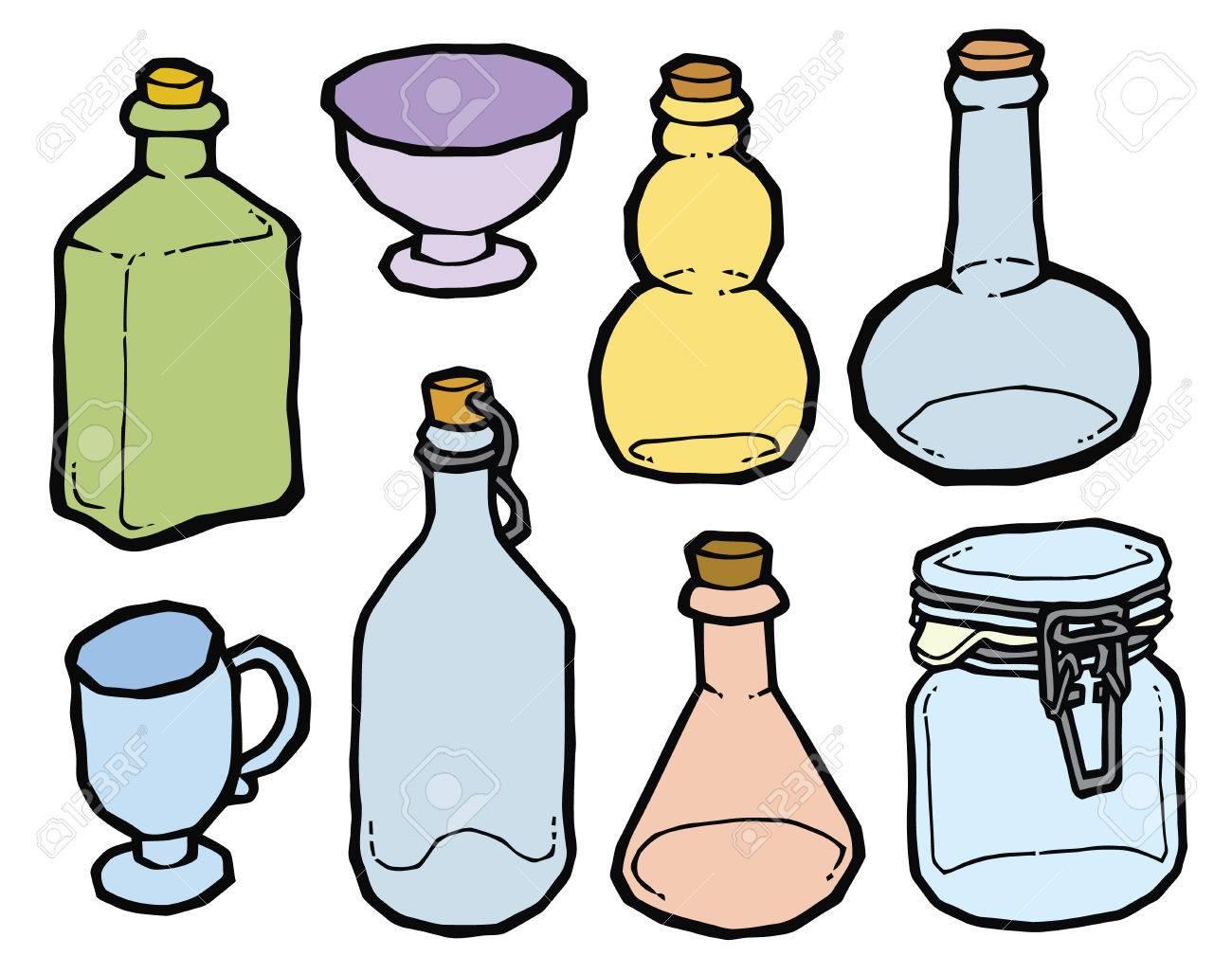 Vaso Di Vetro E Bottiglie Con Tappo Di Sughero Disegno Vettoriale ...