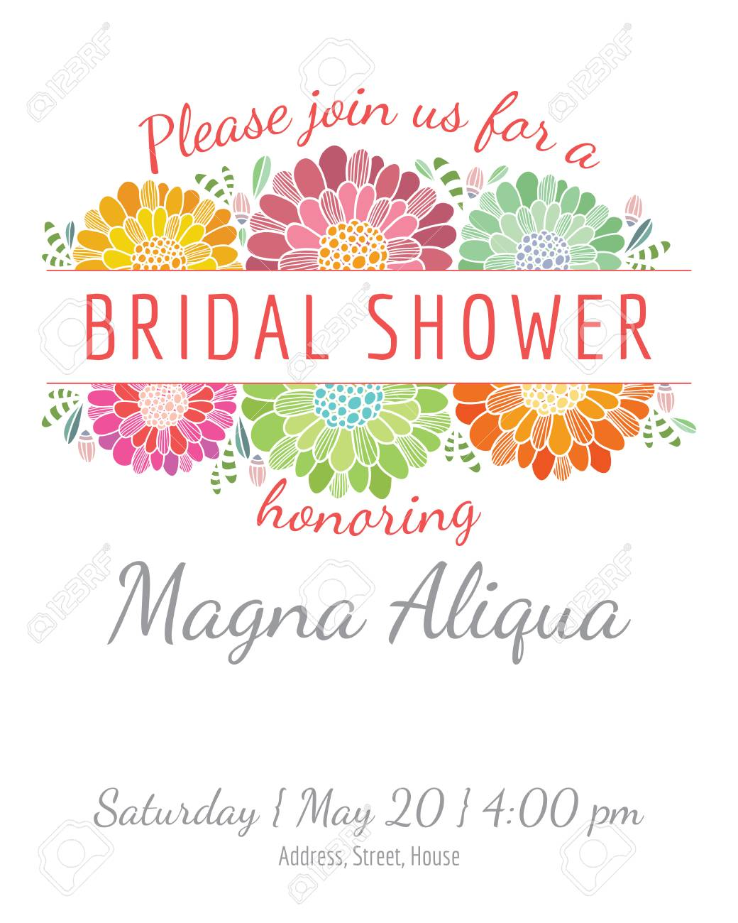 Invitation Bridal Shower Card Vector Template - For Invitations ...