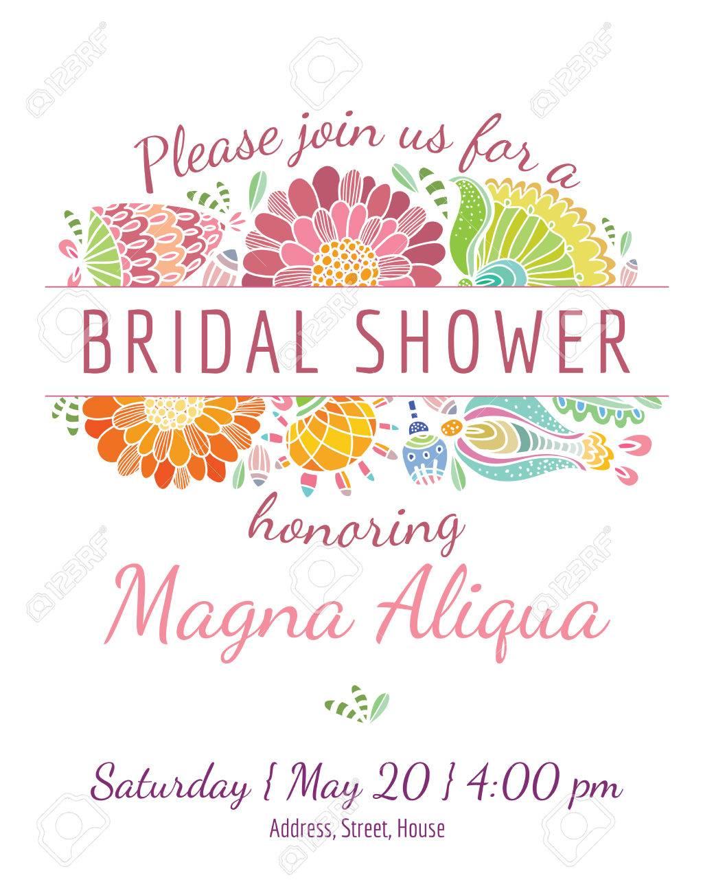 Invitation Bridal Shower Card Vector Template For Invitations - Bridal shower flyer template