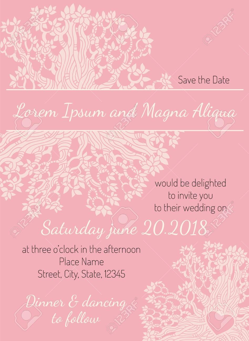 Einladung Hochzeit Karte Rosa Blumen Herz Vektor Vorlage. Sie Können Es Für  Einladungen