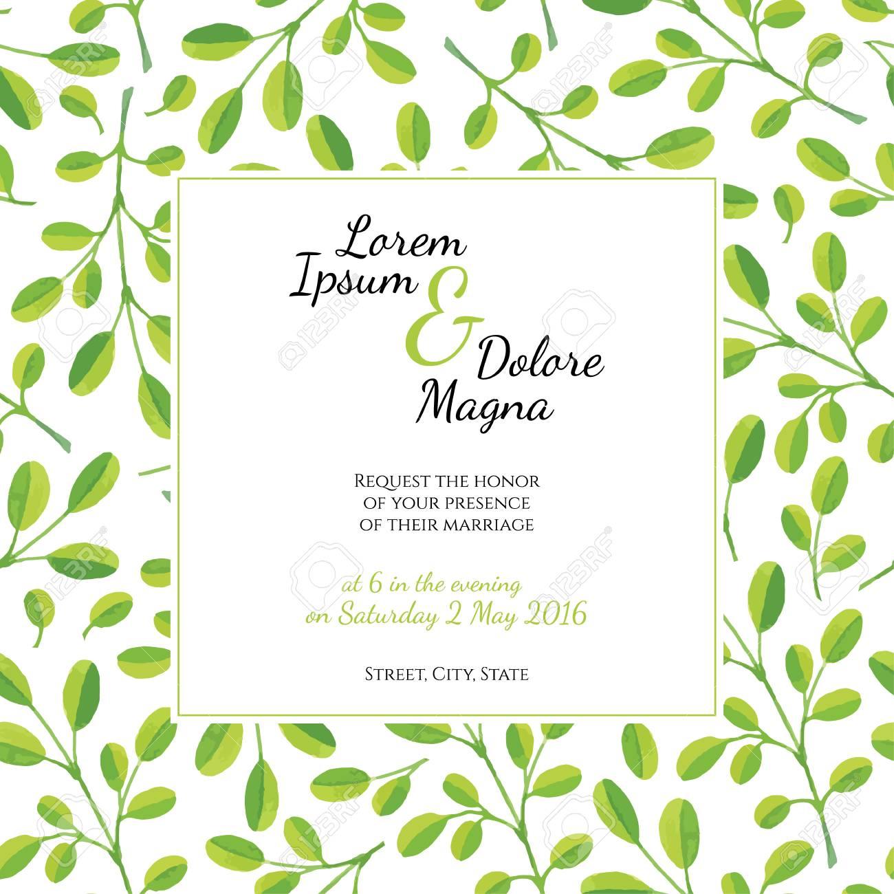 Tarjeta De Invitación Con Plantilla De Acuarela Hojas Vector Para Invitaciones De Boda Volantes Tarjetas Postales Tarjetas Y Así Sucesivamente
