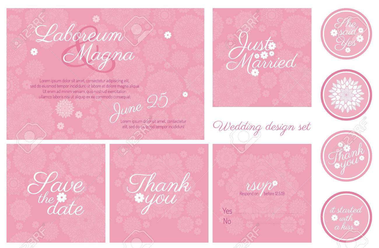 Einladung Hochzeit Design Set Vektor Vorlage   Für Einladungen, Flyer,  Postkarten