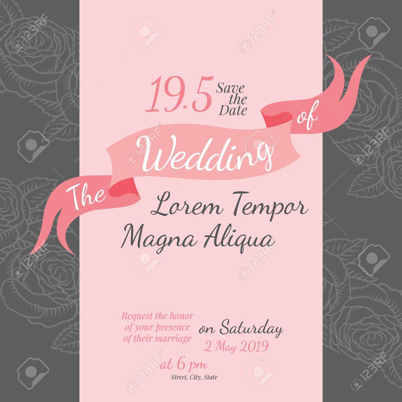 Invitation Bridal Shower Card With Rose Flower Vector Template - Bridal shower flyer template