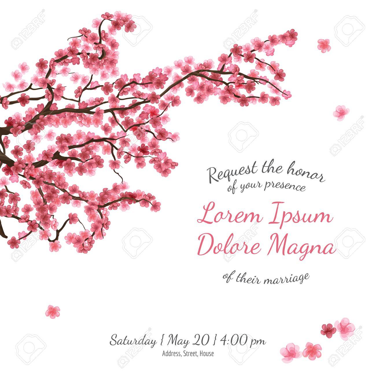 Invitation Bridal Shower Card With Sakura Vector Template For - Bridal shower card template
