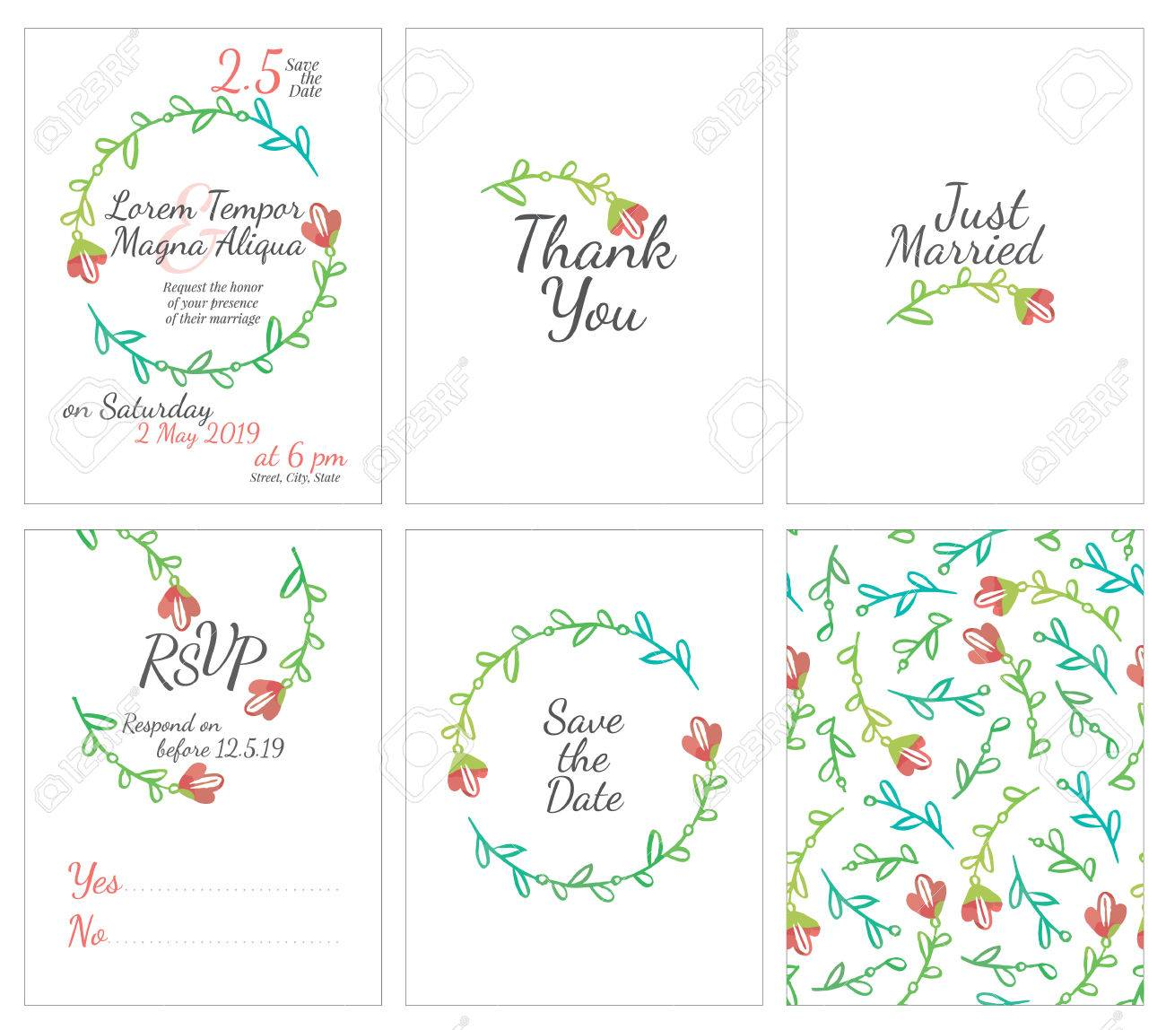 satz von sanften hochzeitskarten postkarte mit der einladung besttigung speichern sie das datum - Besttigung Muster