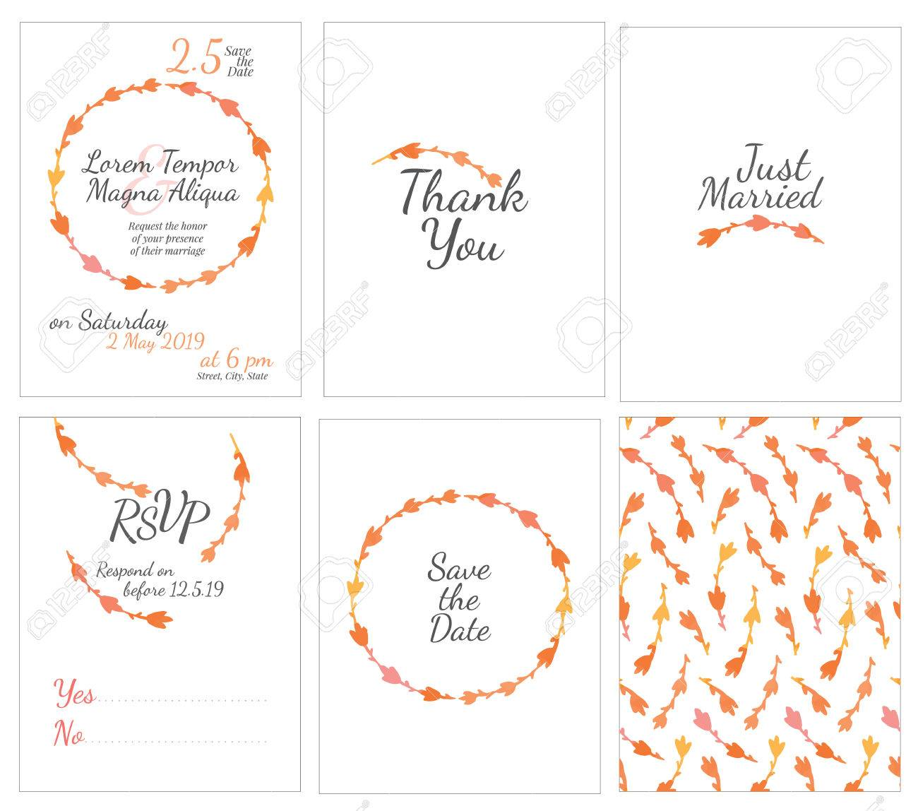 satz von sanften hochzeitskarten postkarte mit der einladung besttigung speichern sie das datum - Bestatigung Muster