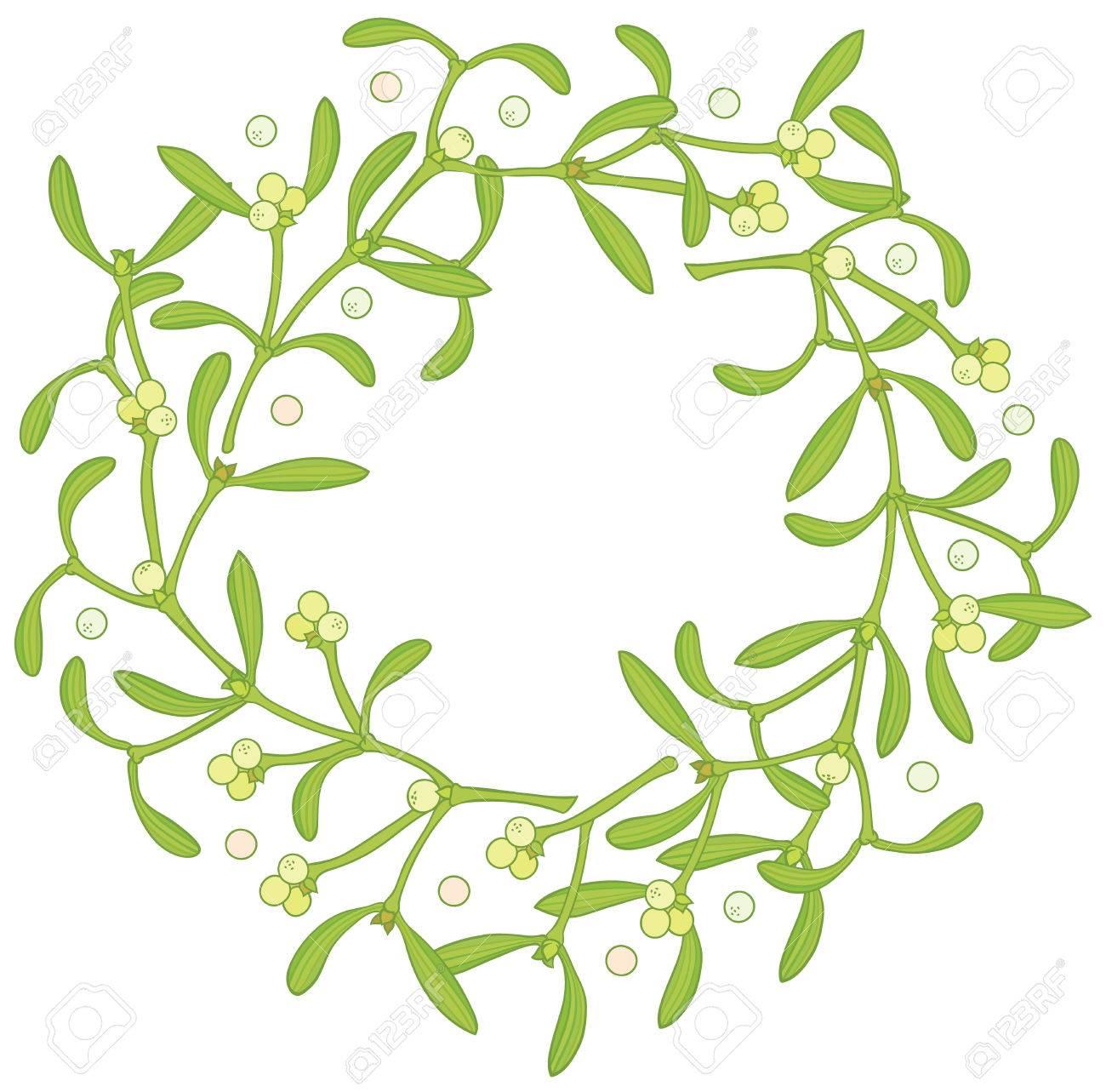 wreath of mistletoe vector christmas vector hand drawing frame rh 123rf com mistletoe vector black and white mistletoe vector image