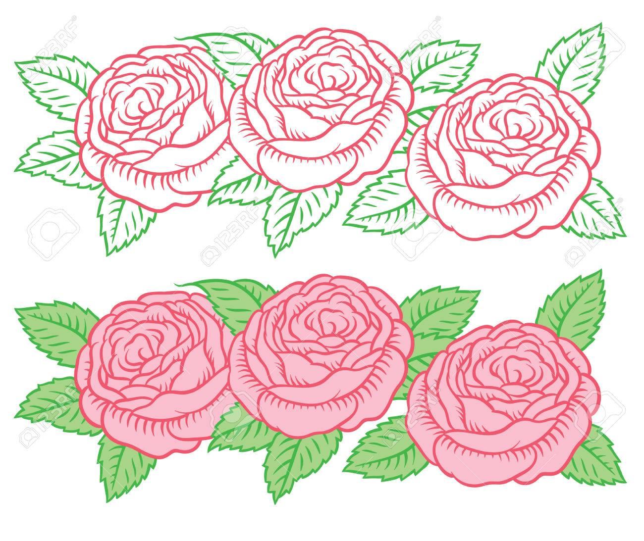 vecteur dessin guirlande de fleurs - roses dans un style rétro