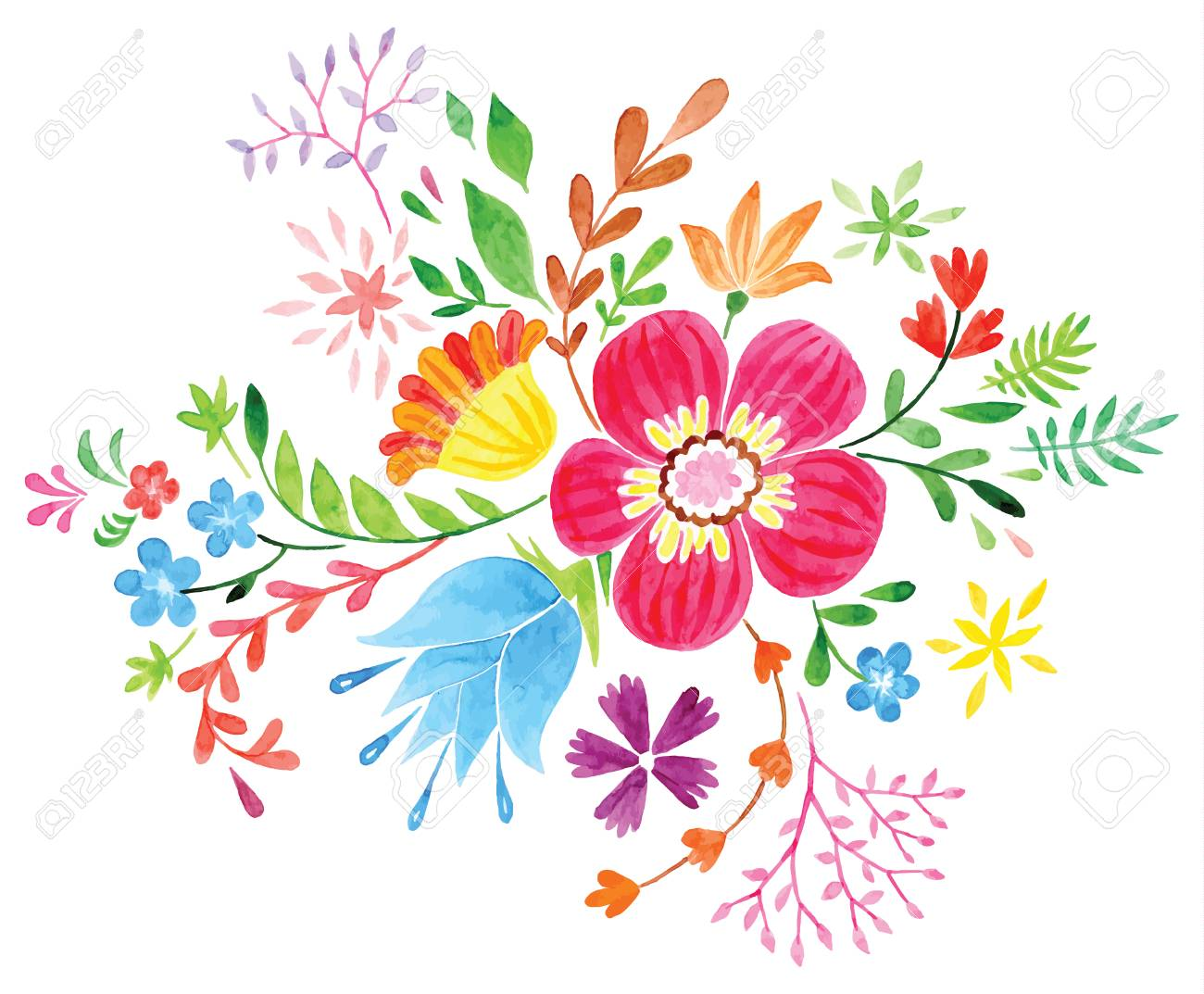 Vector flowers , Colorful floral collection with leaves and flowers,..