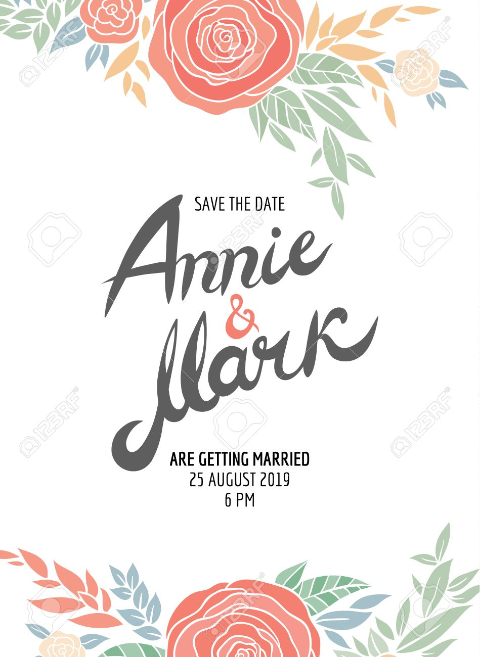 Invitation Wedding Card With Current Trendy Flowers Vector – Wedding Card Template