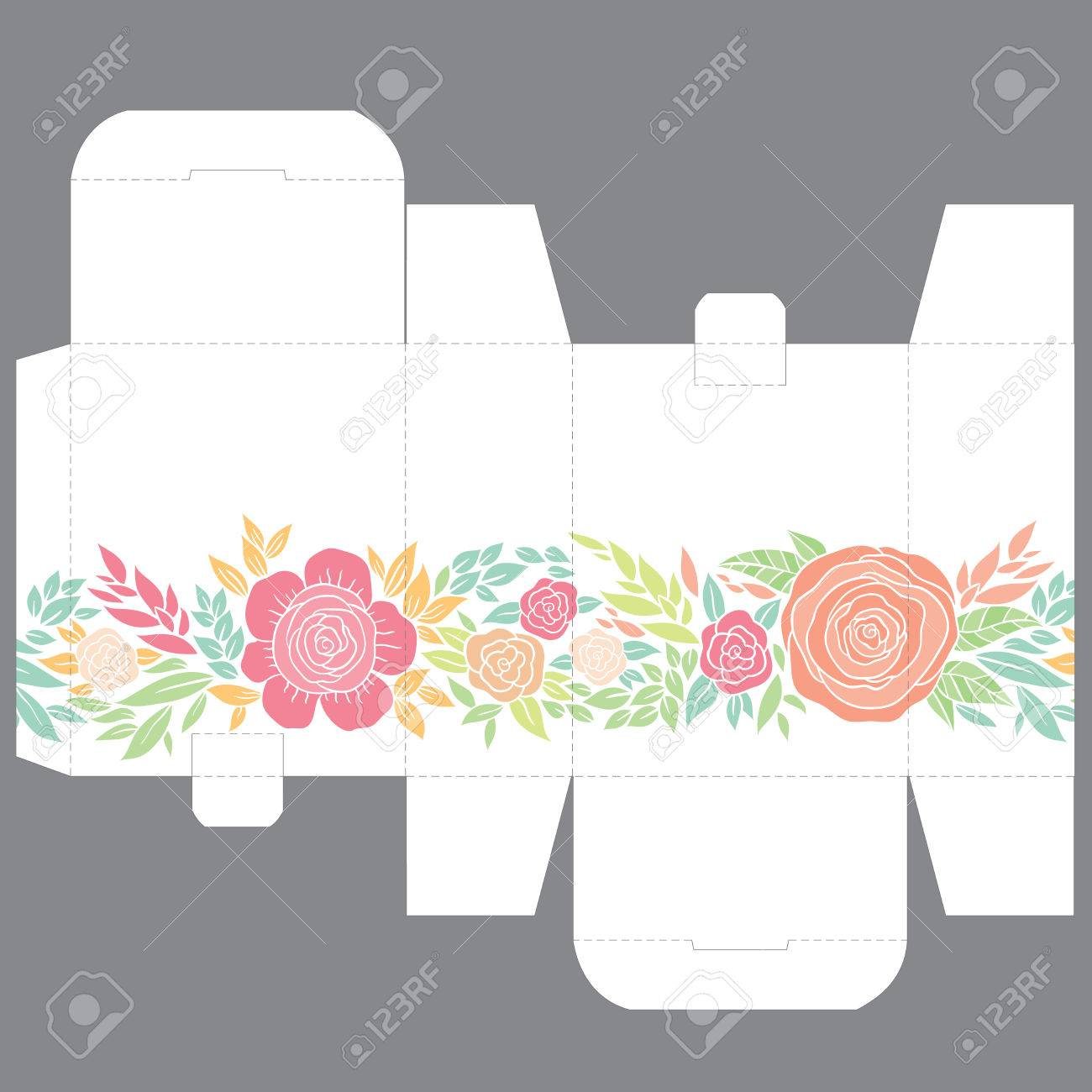 gift wedding favor die box design template with nature pattern