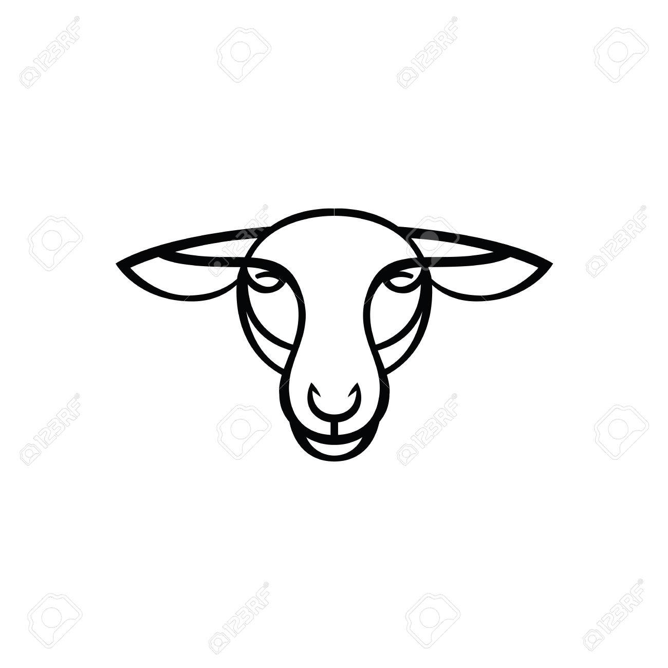Linear Stylized Drawing - Head Of Sheep Or Ram - For Icon Or ...