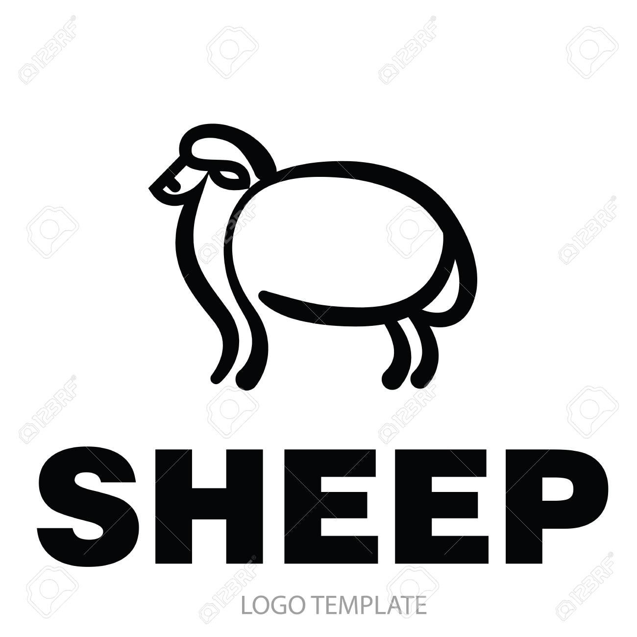 Lineare Stilisierte Zeichnung Von Schafen Für Symbol Oder
