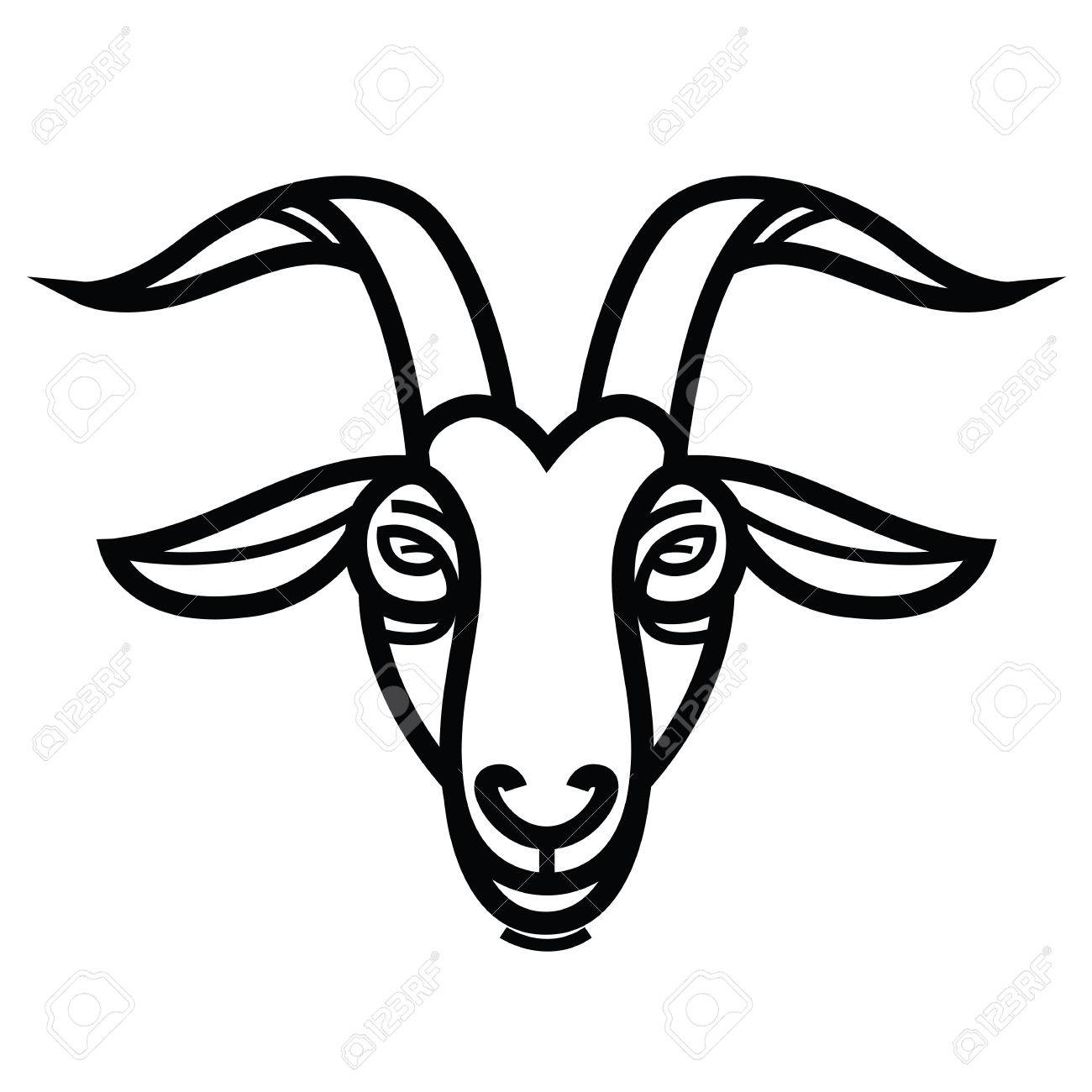 Linear stylized drawing - Goat's head - for icon or sign template