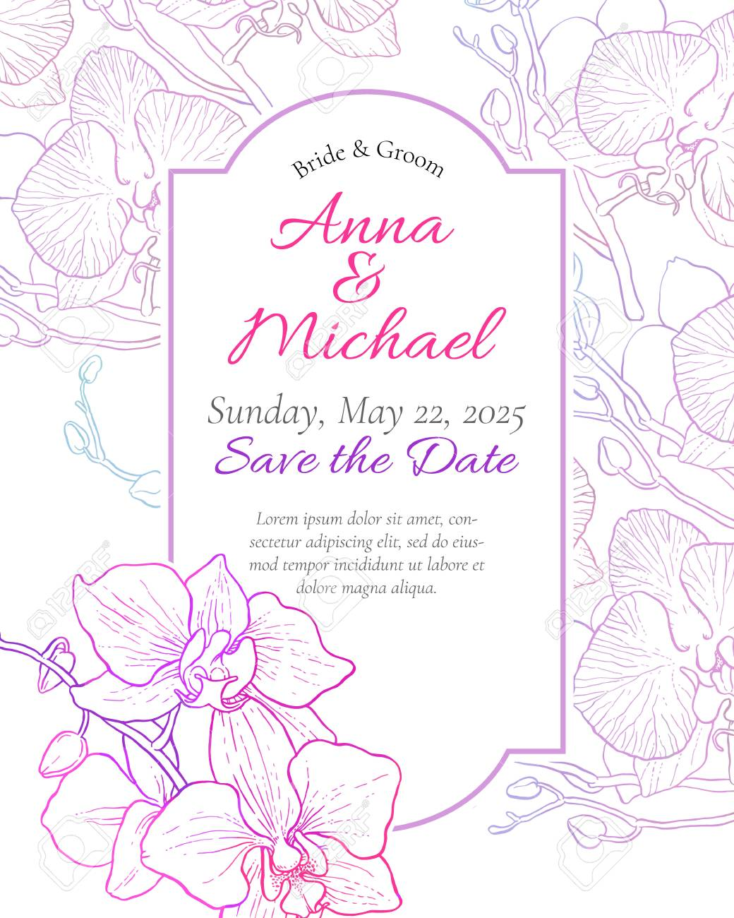Vector Wedding Invitation With Orchid Flowers Royalty Free Cliparts ...