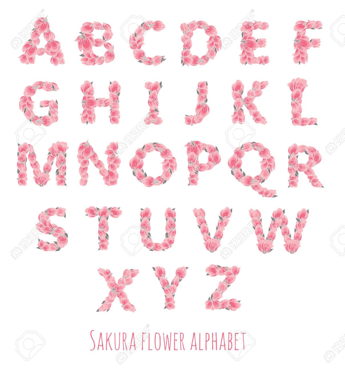 Vector Colorful Flower Font - Font Made With Sakura Flowers And ...
