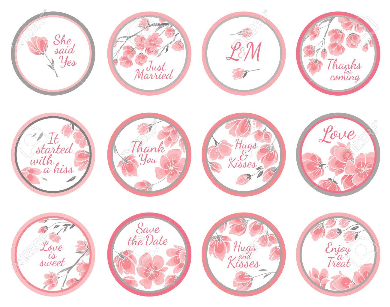 Template Vector Greeting Labels For Wedding Gift For Guest With