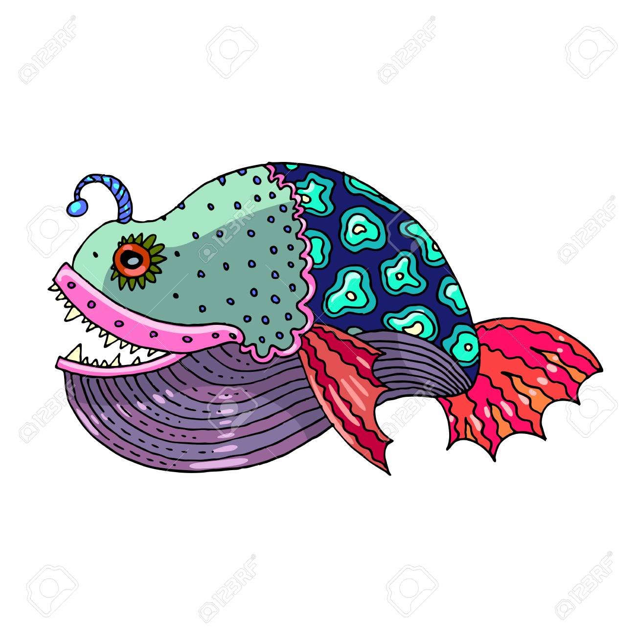 Cartoon comics sea or river fish - vector hand drawing isolated linear illustration in sketch style - 90968190