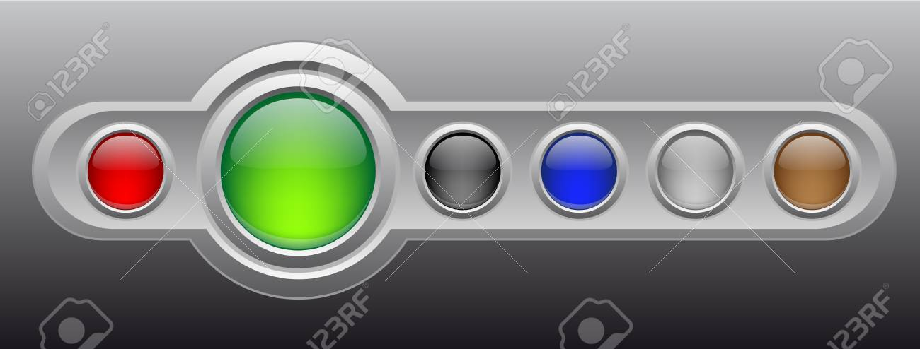Vector glossy buttons on metal template. Stock Vector - 4352659