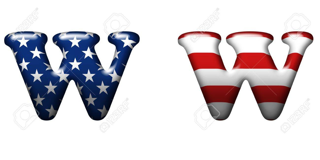 Exclusive collection letters with american stars and stripes isolated on white background - W Stock Photo - 5284620