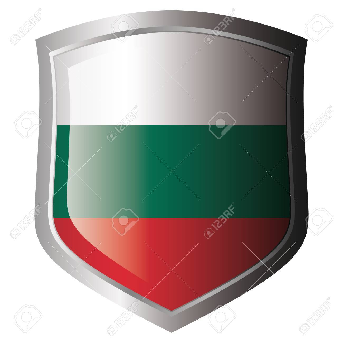 bulgaria flag on metal shiny shield. Collection of flags on shield against white background. Isolated object. Stock Vector - 5871976
