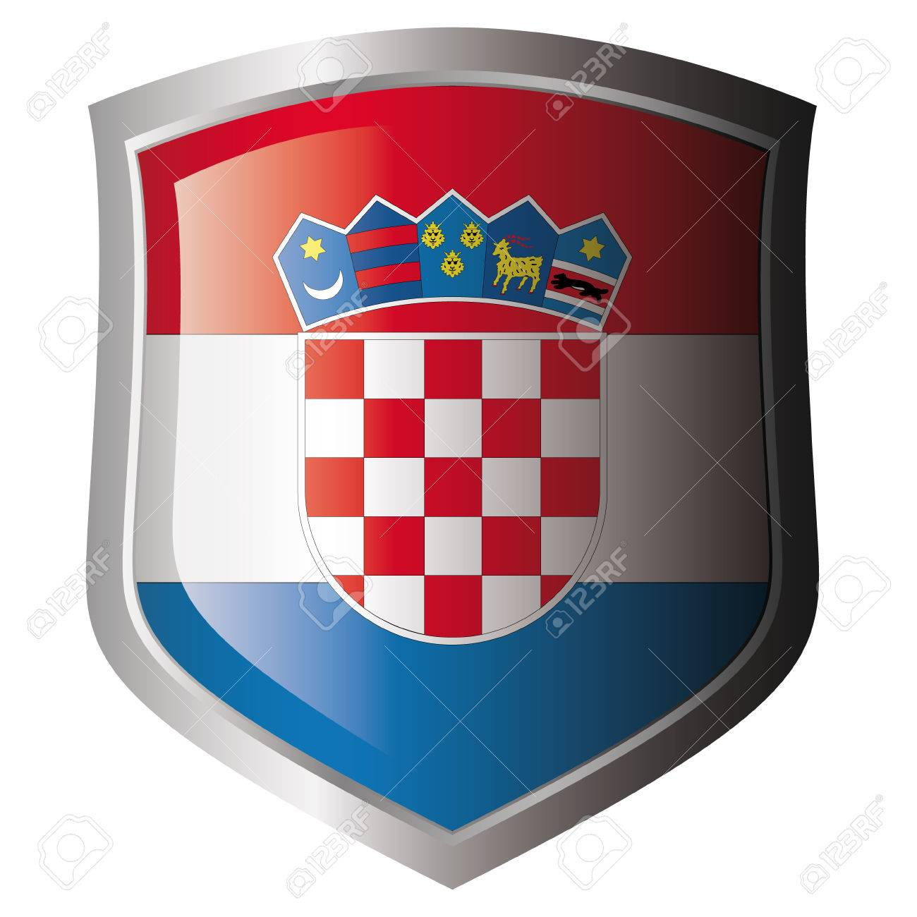 croatia flag on metal shiny shield. Collection of flags on shield against white background. Isolated object. Stock Vector - 5872007