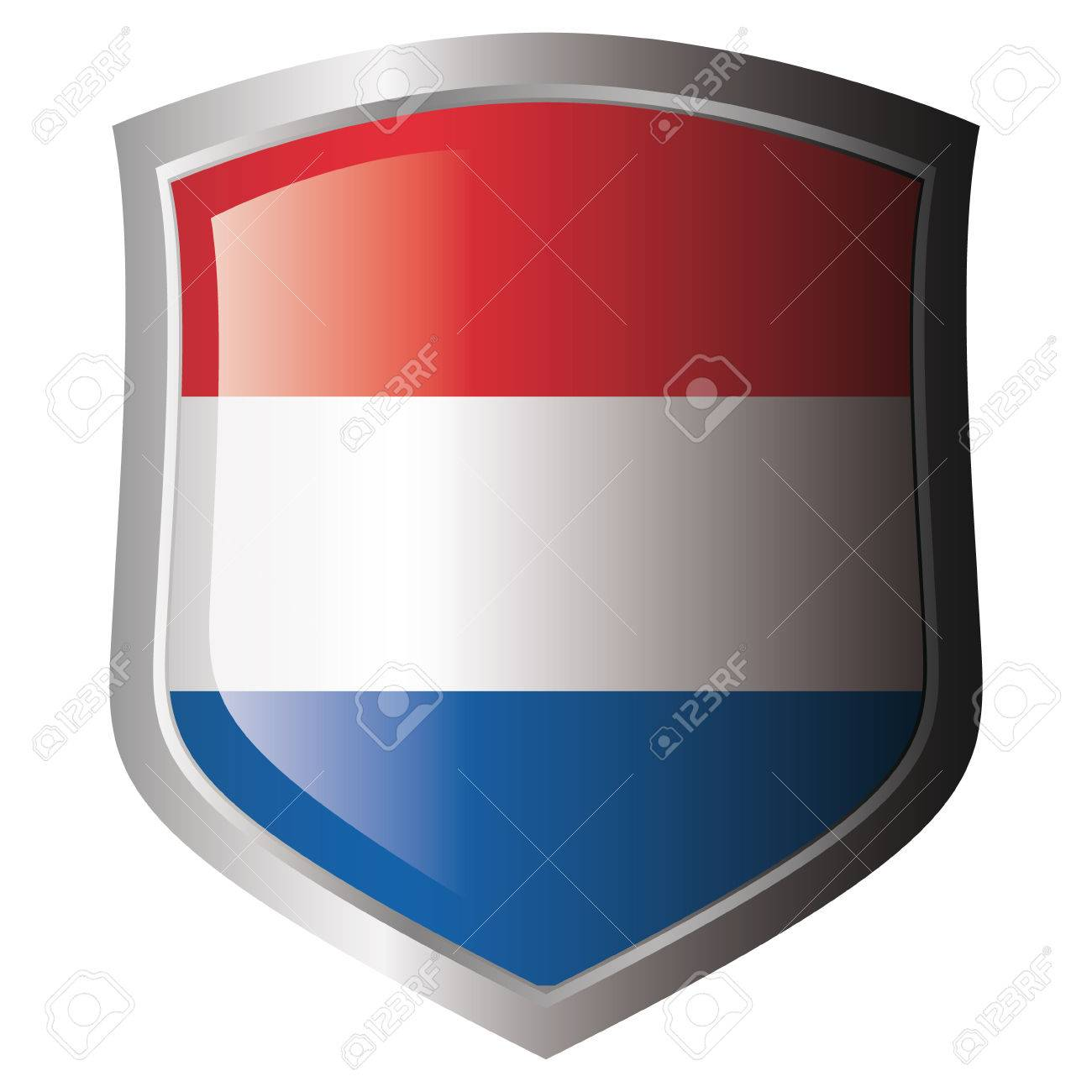 holland flag on metal shiny shield. Collection of flags on shield against white background. Isolated object. Stock Vector - 5871977