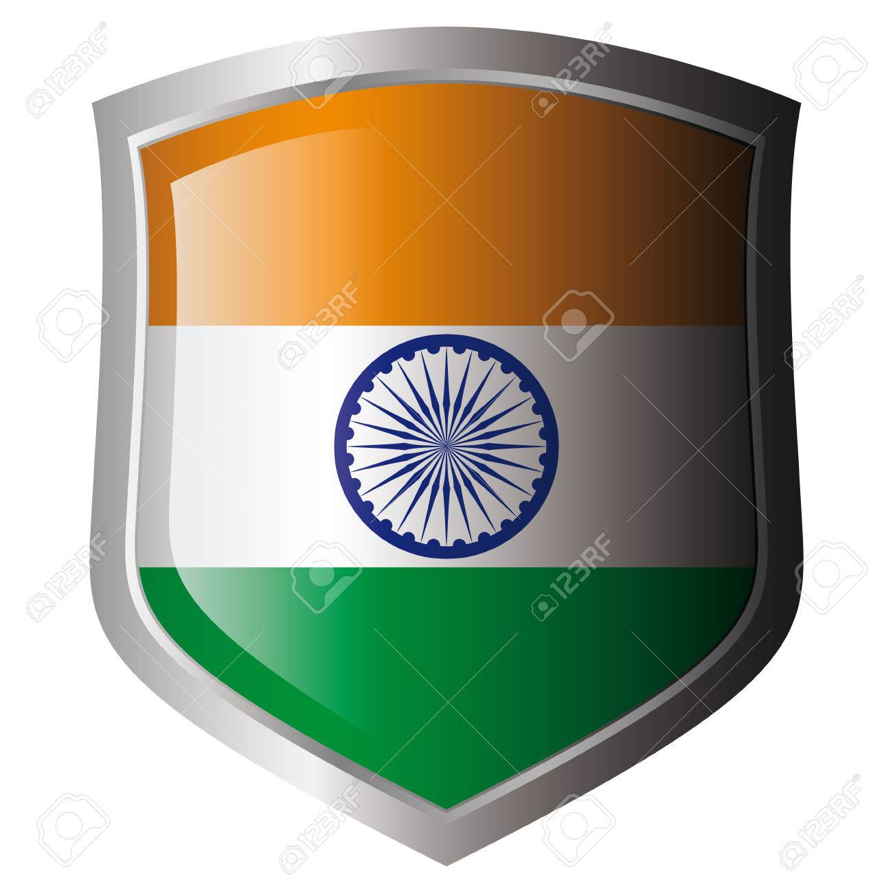 india vector illustration flag on metal shiny shield. Collection of flags on shield against white background. Isolated object. Stock Vector - 6030208