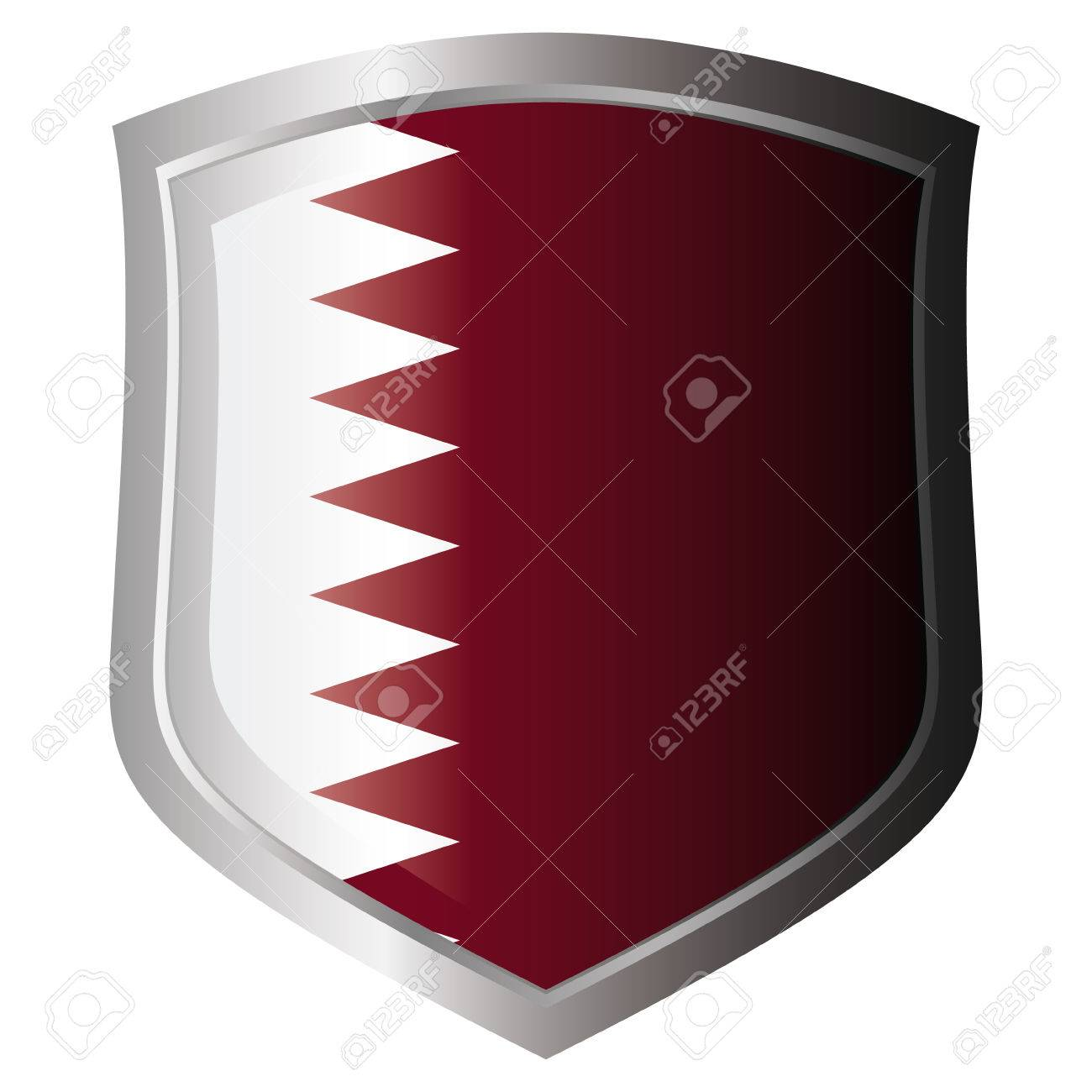 qatar vector illustration flag on metal shiny shield. Collection of flags on shield against white background. Isolated object. Stock Vector - 6030216