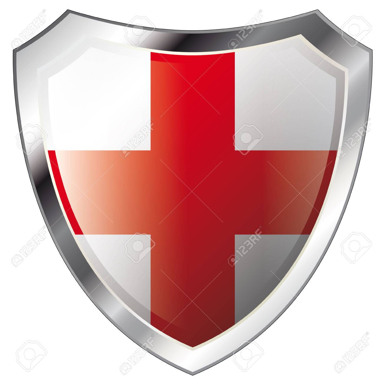 england flag on metal shiny shield vector illustration. Collection of flags on shield against white background. Abstract isolated object. Stock Vector - 6113195