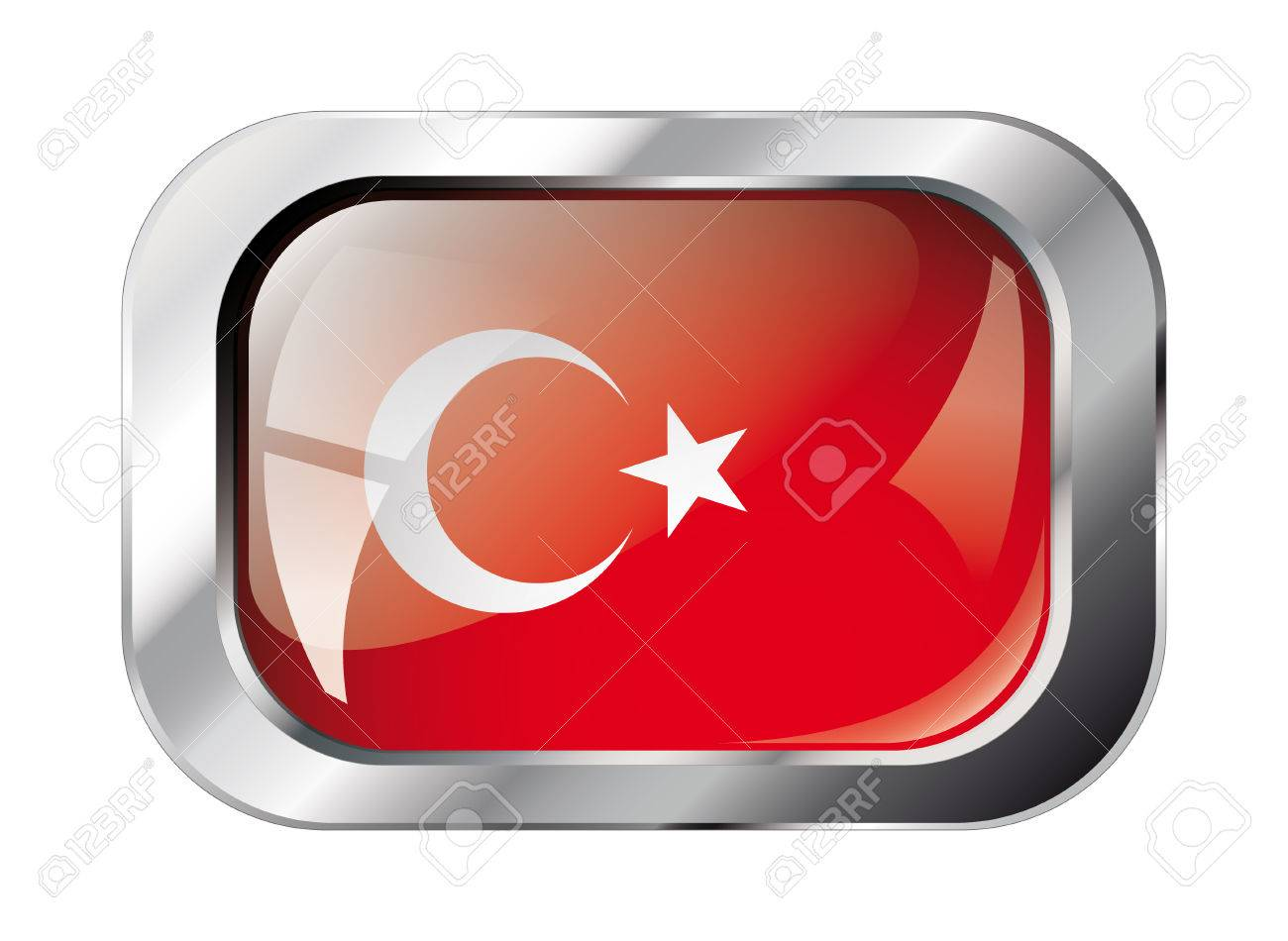 turkey shiny button flag vector illustration. Isolated abstract object against white background. Stock Vector - 6252298