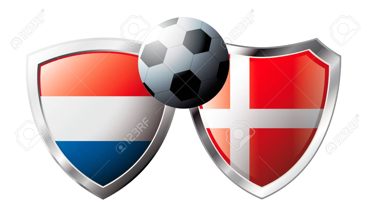 Netherlands versus Denmark abstract vector illustration isolated on white background. Soccer match in South Africa 2010. Shiny football shield of flag Netherlands versus Denmark Stock Vector - 6906244