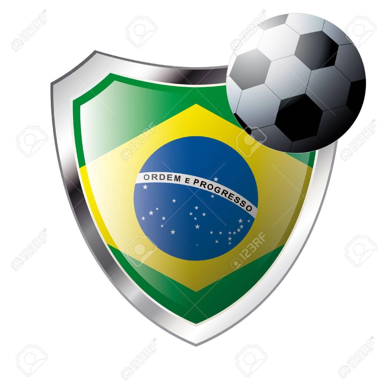 Foto de archivo - Vector ilustración - tema de fútbol abstracta - brillante  metal escudo aislado sobre fondo blanco con la bandera de Brasil c32e27cab8bcb