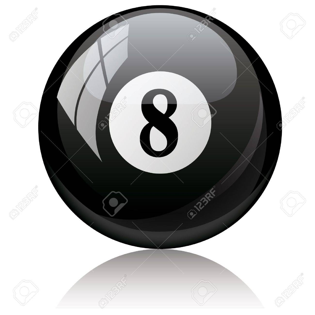 Vector illustration of a isolated glossy - eight, black - pool ball against white background. Stock Vector - 6905256