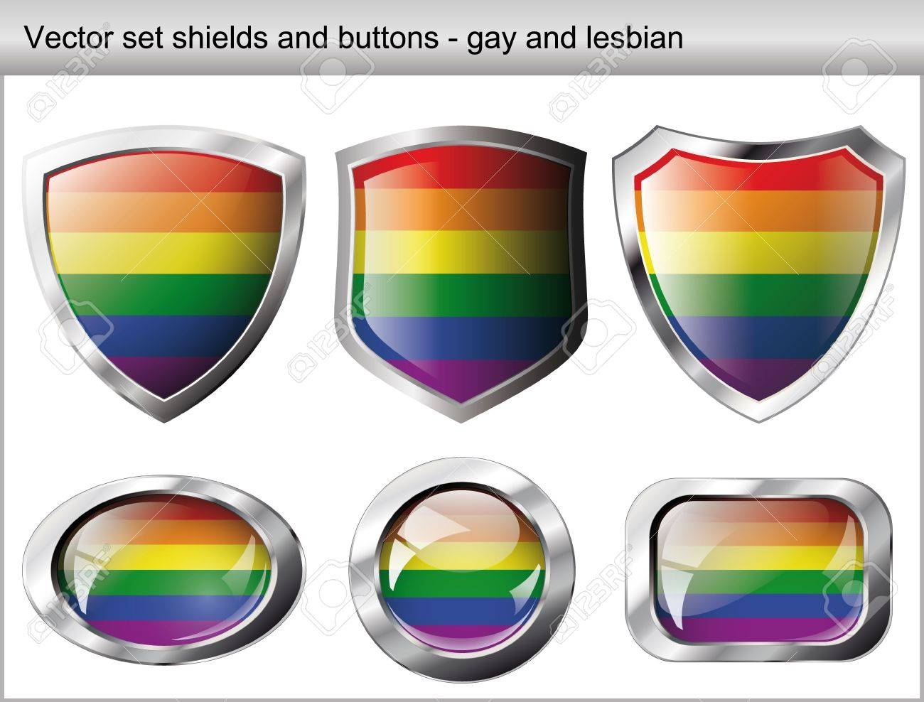 illustration set. Shiny and glossy shield and button for gay community. Abstract objects isolated on white background. Stock Vector - 6905343