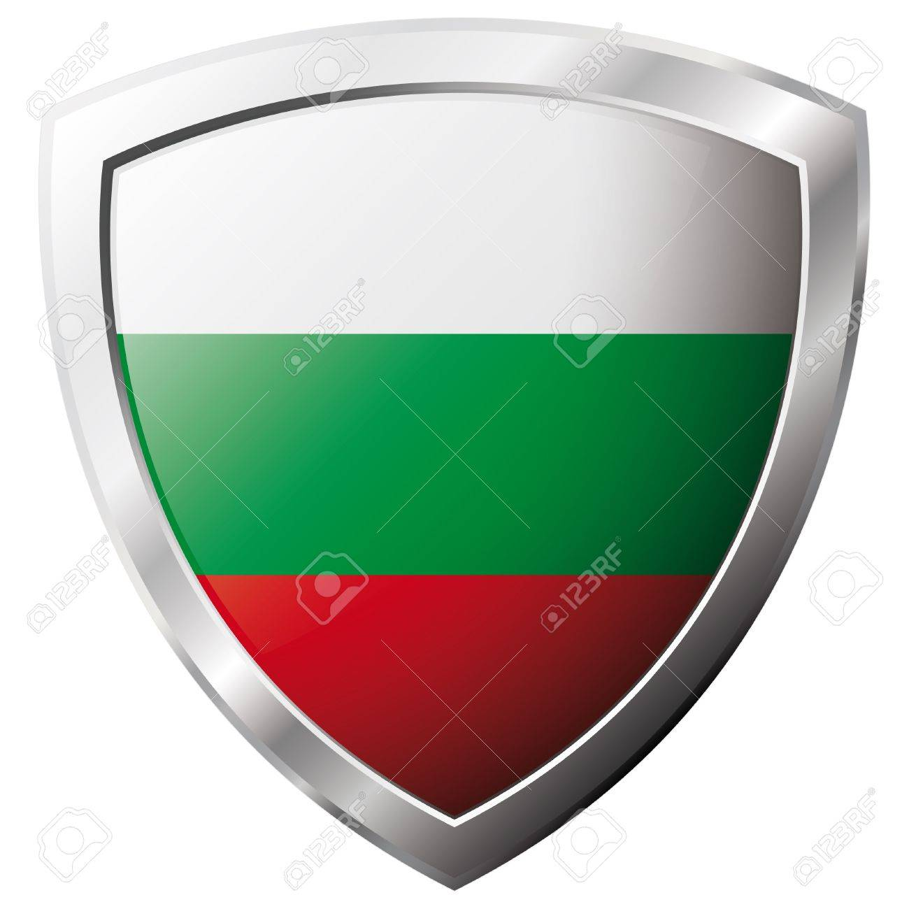 Bulgaria flag on metal shiny shield vector illustration. Collection of flags on shield against white background. Abstract isolated object. Stock Vector - 6905915