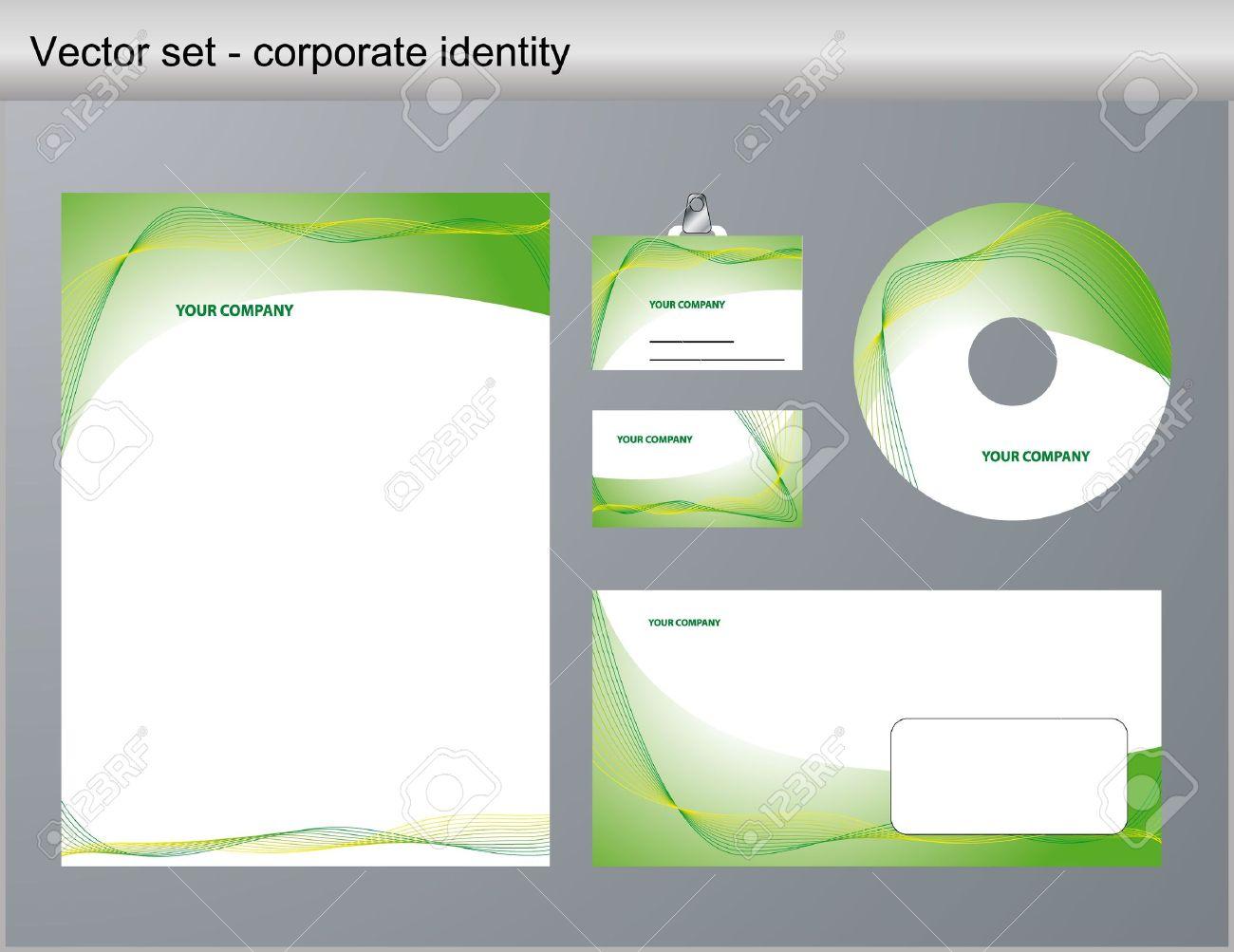 Illustration Of Green Corporate Identity. Letterhead, Business ...