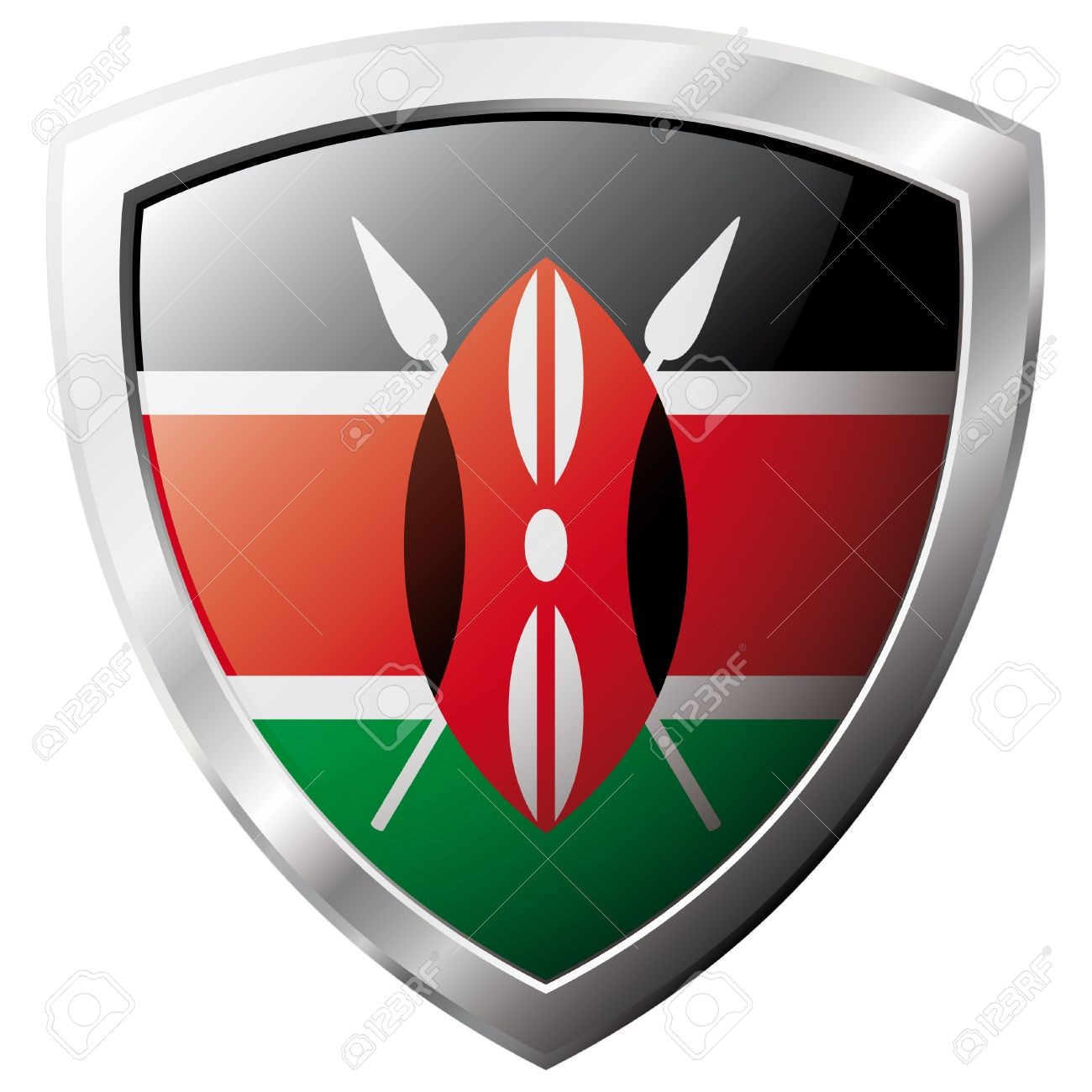 Kenya flag on metal shiny shield vector illustration. Collection of flags on shield against white background. Abstract isolated object. Stock Vector - 6906210
