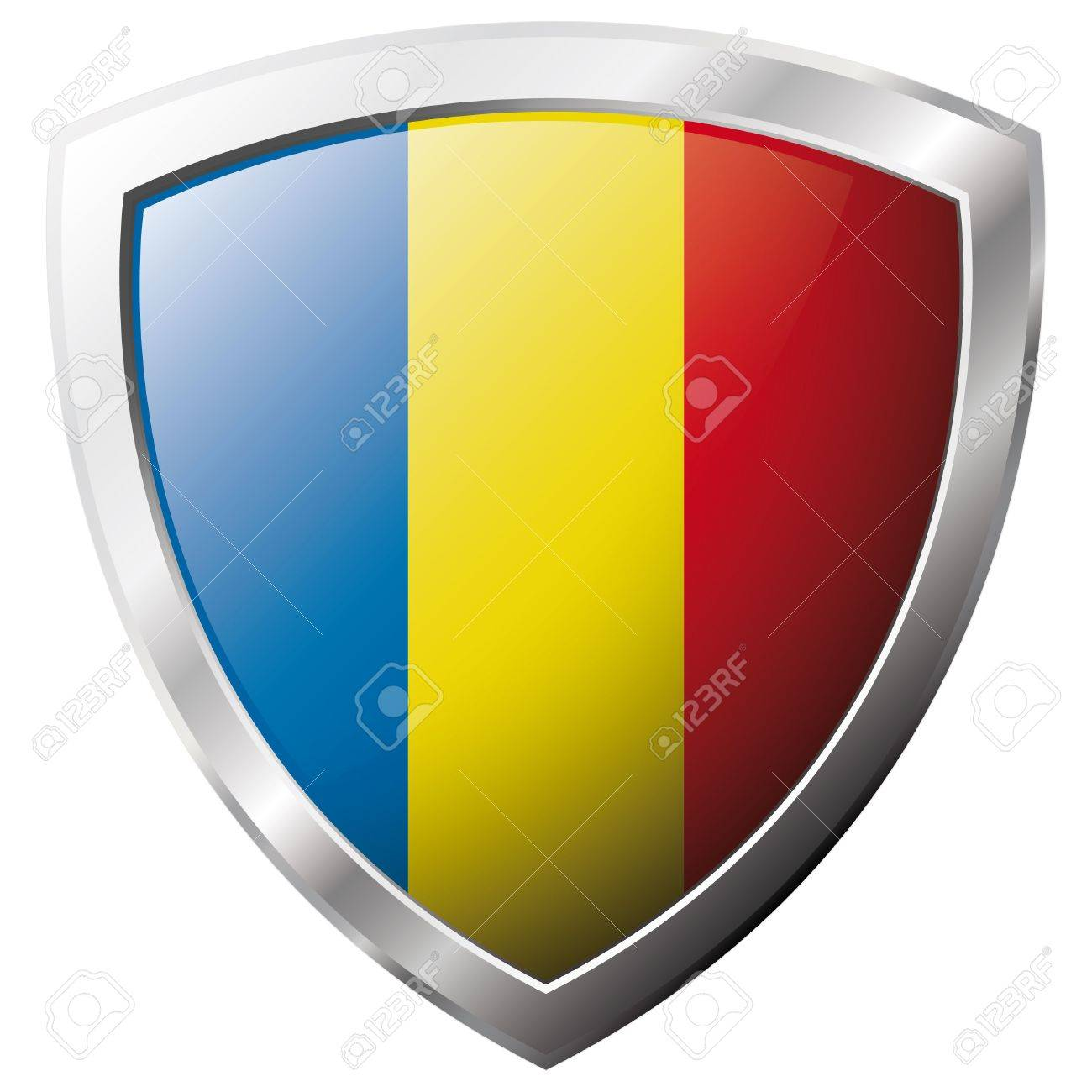 Romania flag on metal shiny shield vector illustration. Collection of flags on shield against white background. Abstract isolated object. Stock Vector - 6905927