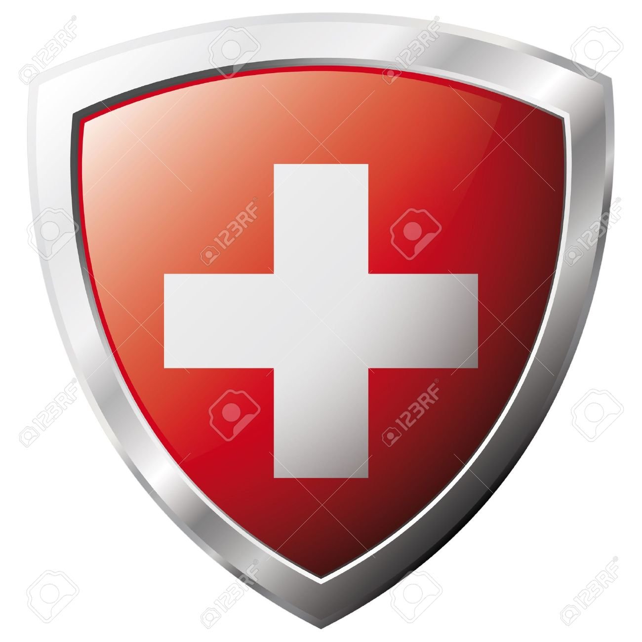 Swiss flag on metal shiny shield vector illustration. Collection of flags on shield against white background. Abstract isolated object. Stock Vector - 6906201