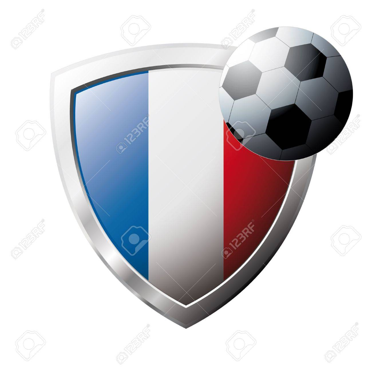 Vector illustration - abstract soccer theme - shiny metal shield isolated on white background with flag of France Stock Vector - 6905430