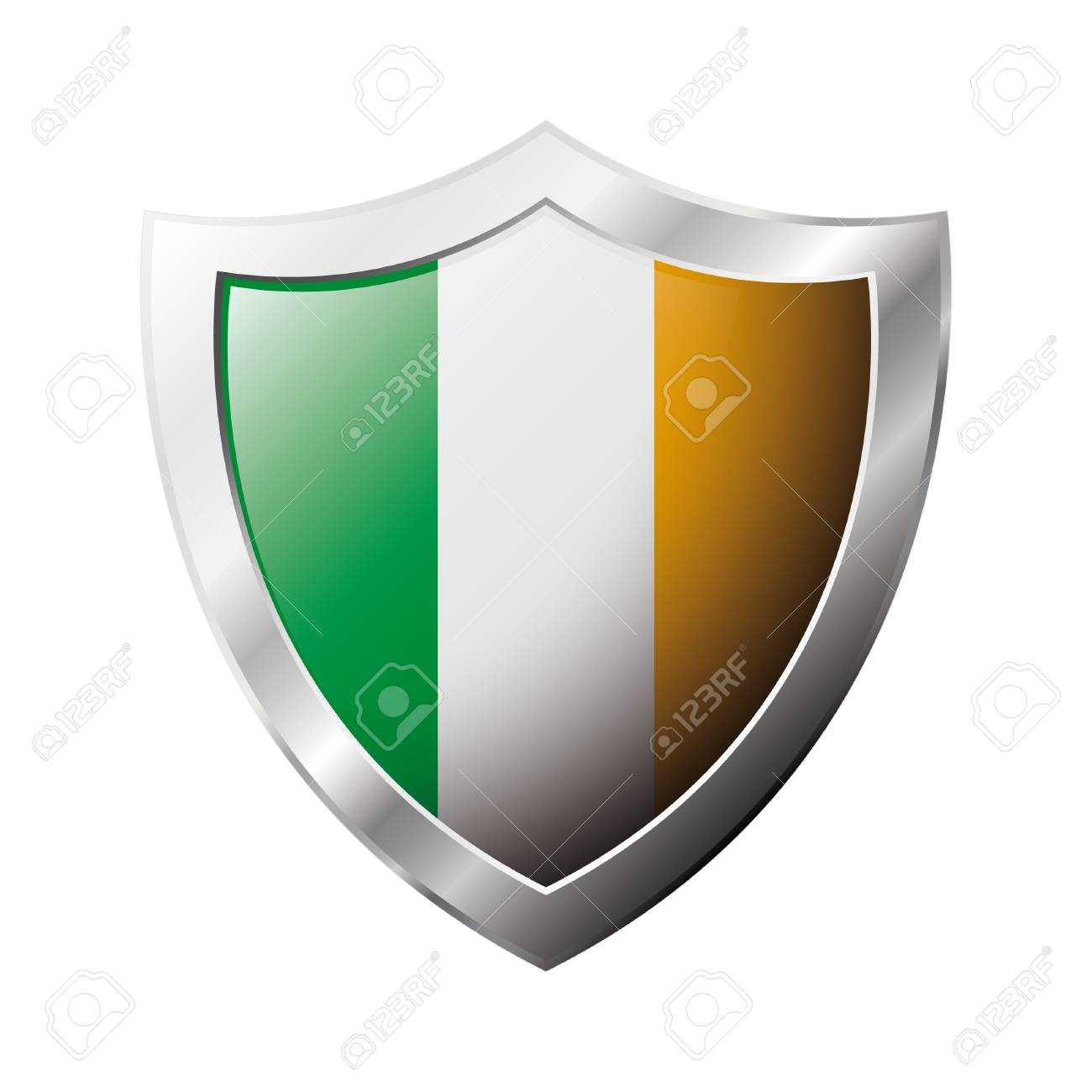 Ireland flag on metal shiny shield  illustration. Collection of flags on shield against white background. Abstract isolated object. Stock Illustration - 6941277