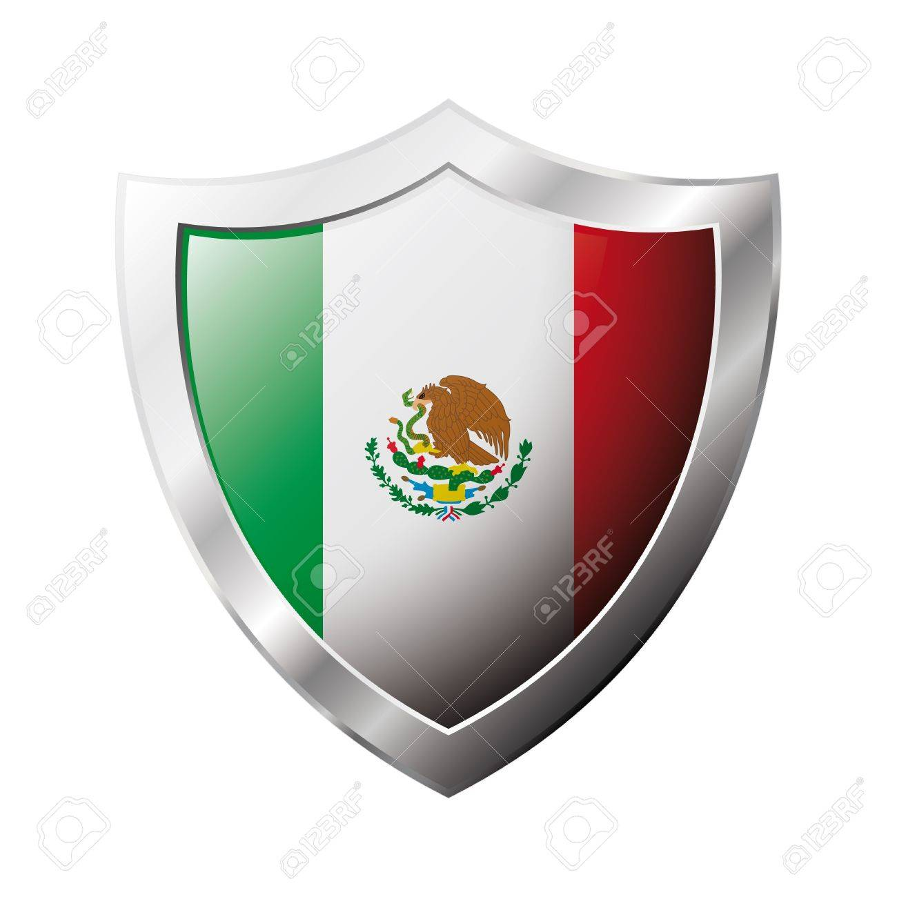 mexico flag on metal shiny shield illustration collection of