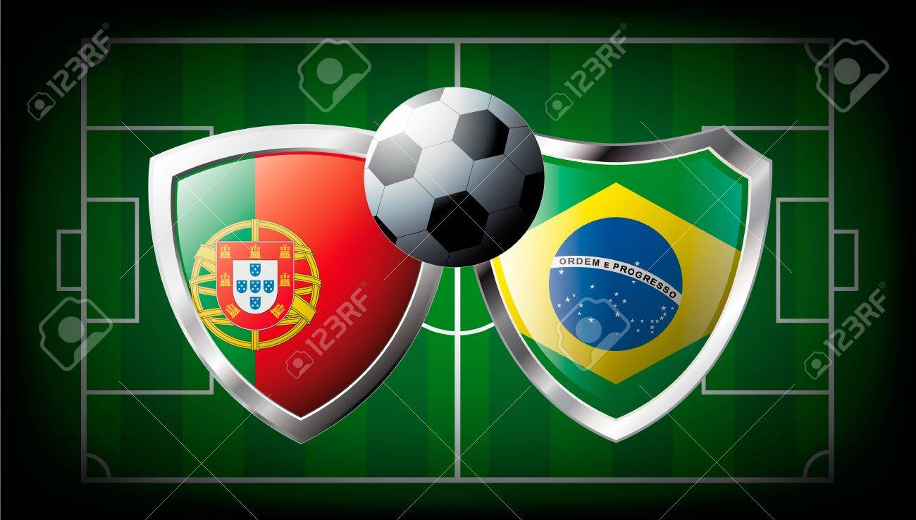 Portugal versus Brazil abstract illustration isolated on white background. Soccer match in South Africa 2010. Shiny football shield of flag Portugal versus Brazil Stock Photo - 6943613