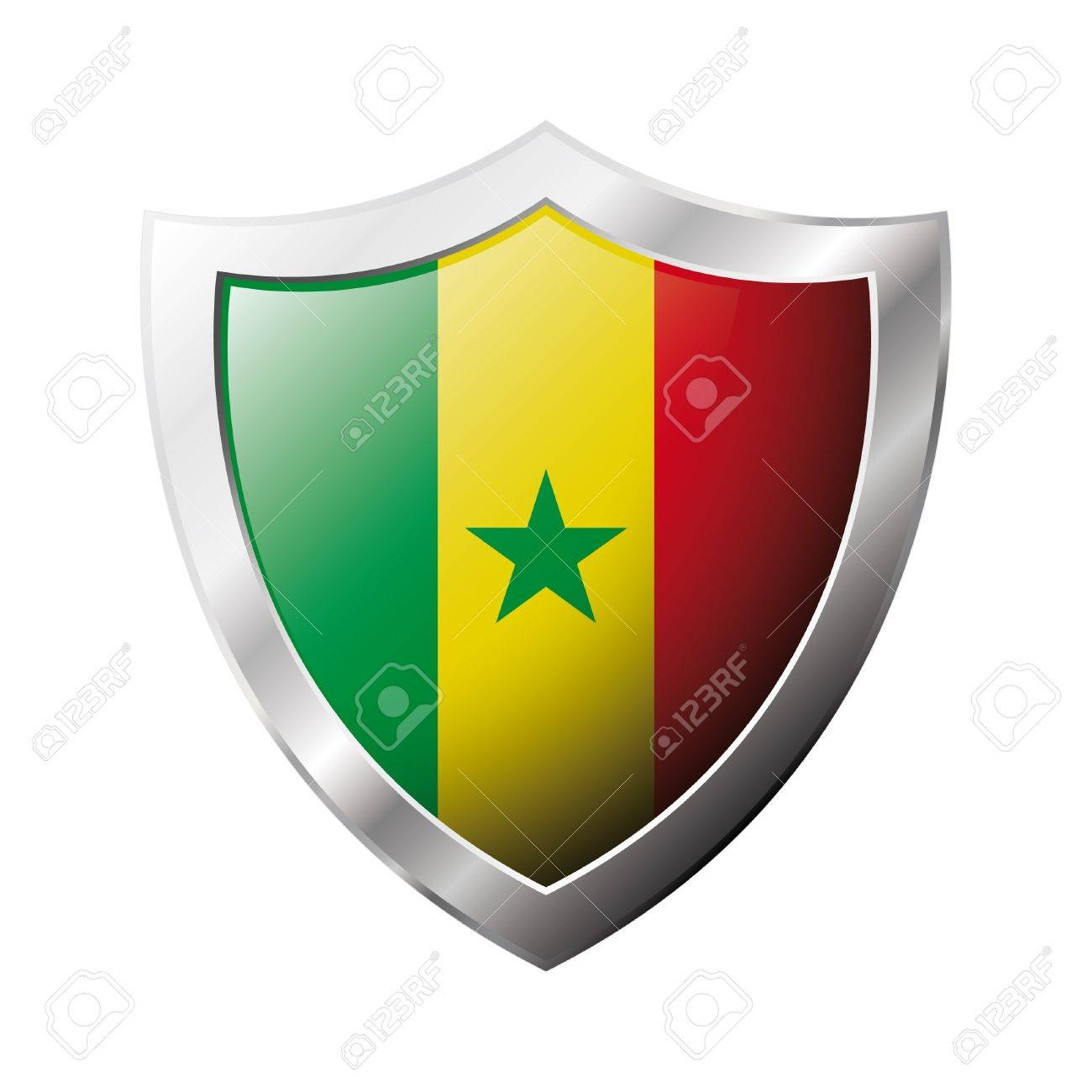 Senegal flag on metal shiny shield  illustration. Collection of flags on shield against white background. Abstract isolated object. Stock Illustration - 6945719