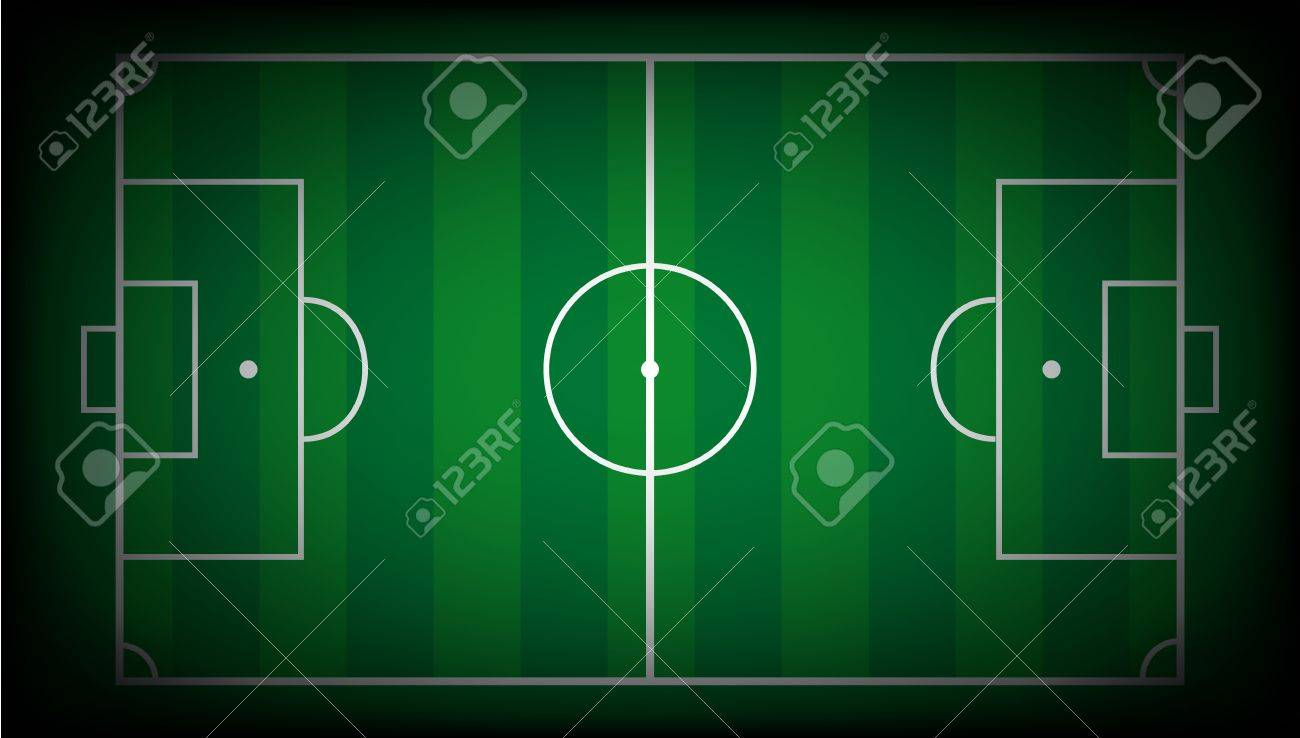 illustration abstract background of soccer field with white lines on green. Isolated football playground. Stock Illustration - 6943697