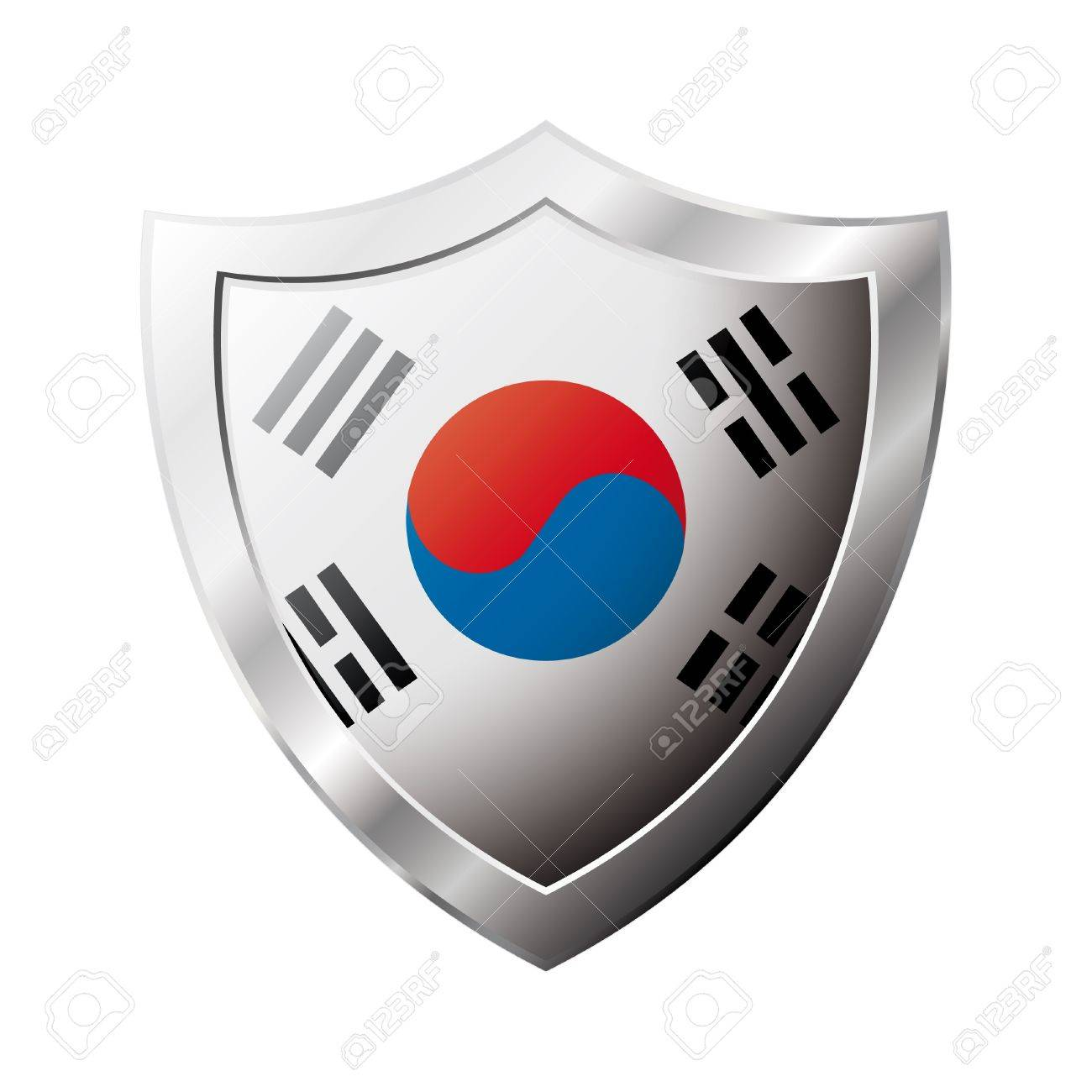 South Korea flag on metal shiny shield  illustration. Collection of flags on shield against white background. Abstract isolated object. Stock Illustration - 6945774